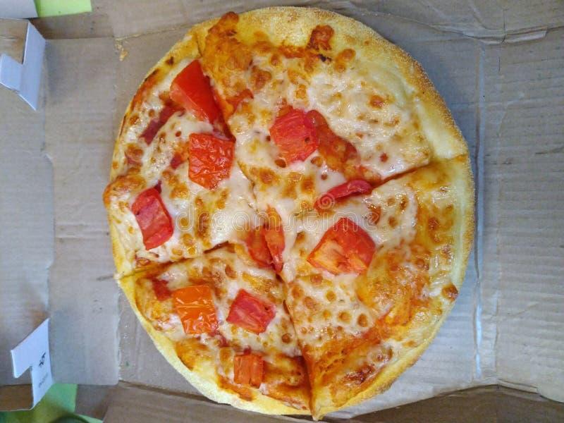 Cheezey tamoto pizza stock photo