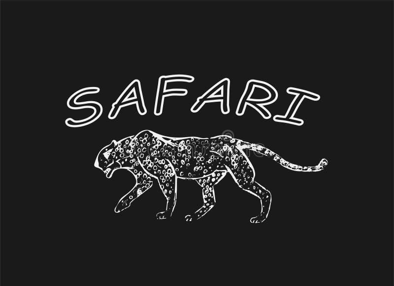 cheetah Croquis tiré par la main d'encre Dessin horizontal Gravure de vecteur Schéma prédateur Illustration au trait blanc d'isol illustration stock