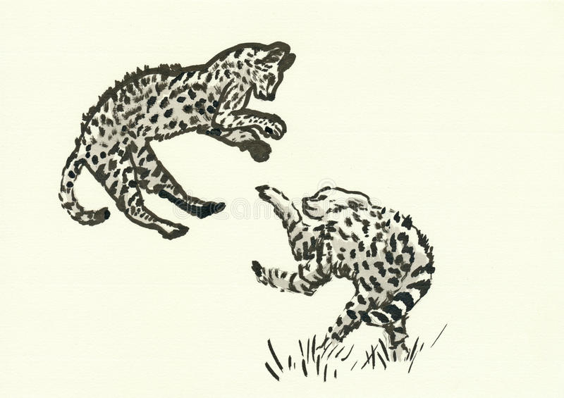 Cheetah cubs. Hand drawn picture, black ink technique - two cheetah cubs vector illustration