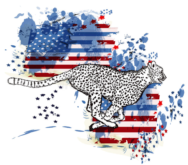 Cheetah and grunge american flag in ink spots. Hand drawn cheetah and grunge American flag in ink spots vector illustration