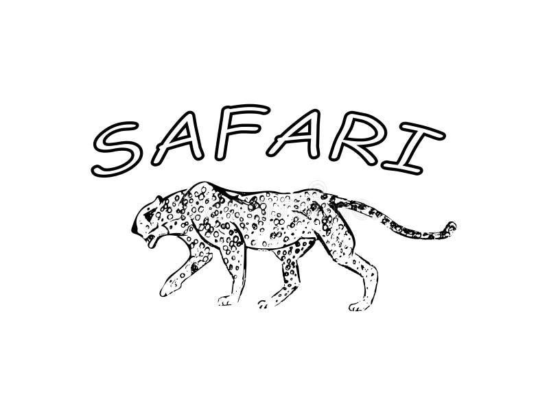 cheetah Hand getrokken inktschets Horizontale tekening Vectorgravure Roofdierlijnart. Zwarte die lijnillustratie op wit wordt geï stock illustratie