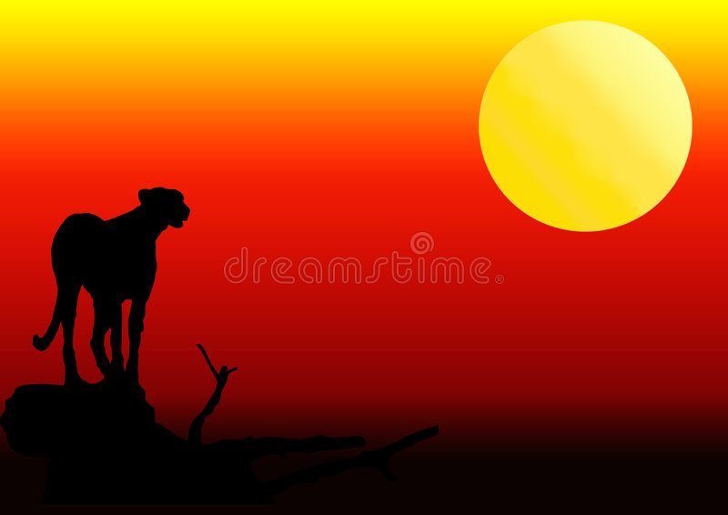 Download Cheetah Silhouette In Sunset Stock Illustration - Image: 7358776