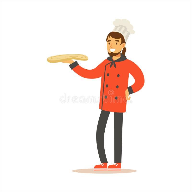 Chef à cuire professionnel Working In Restaurant d'homme portant l'uniforme traditionnel classique avec la bande dessinée de la p illustration libre de droits