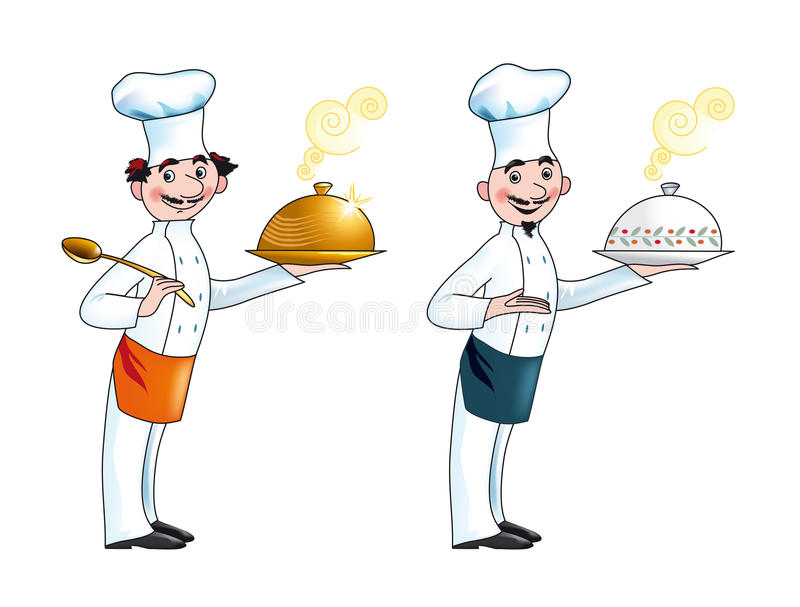 Chef. Cartoon illustration of two chefs holding covered dishes