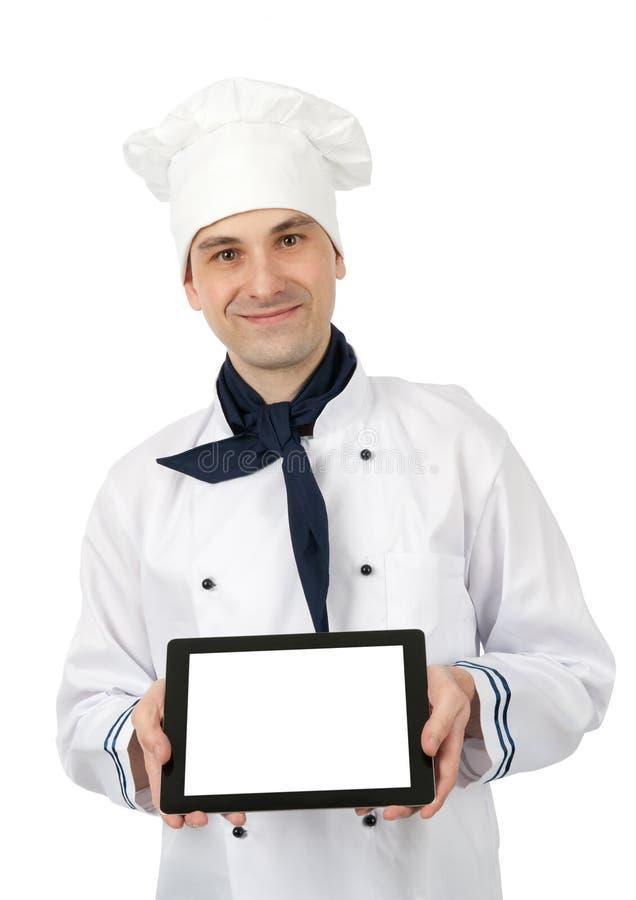 Chef affichant un PC de tablette photos stock