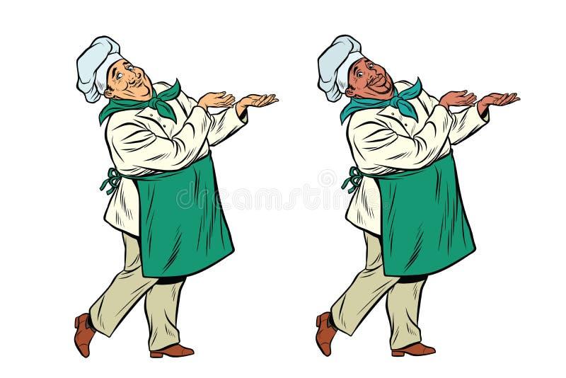 Chef africain et caucasien tenant le geste de main illustration de vecteur