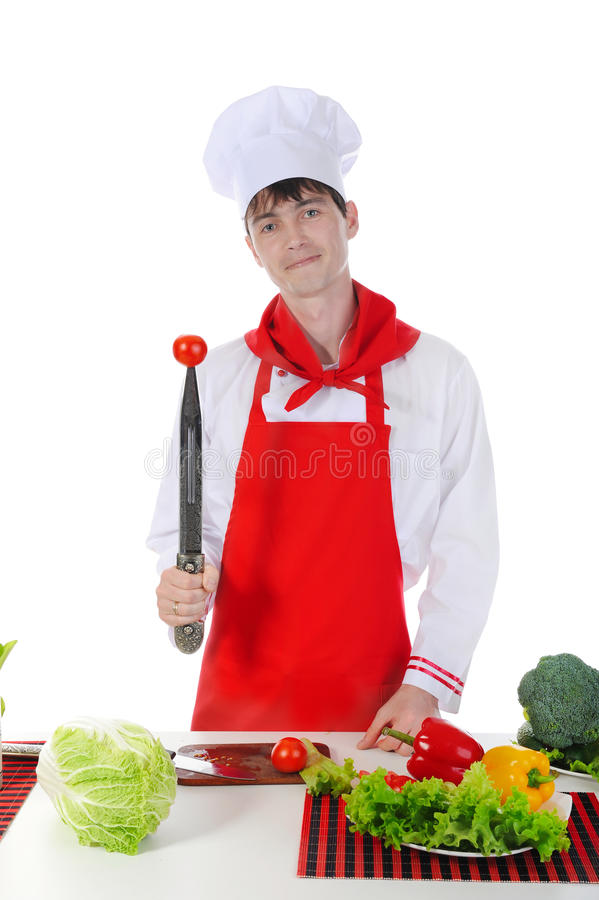 Free Chef And Tomato On The Knife. Stock Photos - 14353143