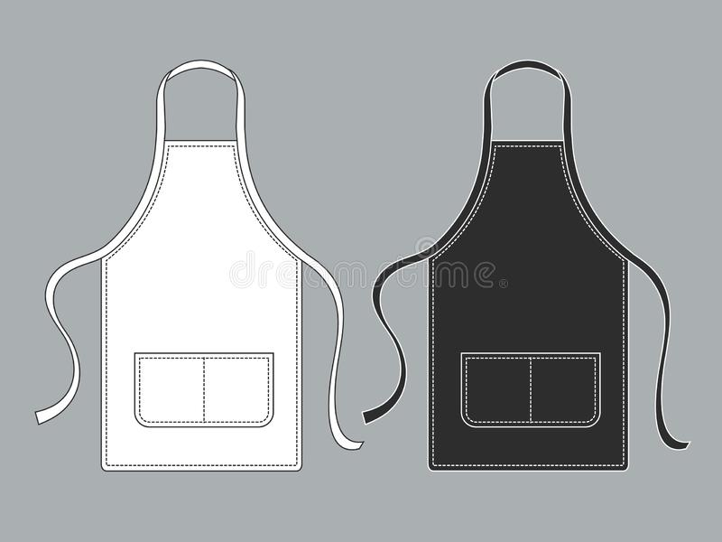 Chef apron. Black white culinary aprons chef uniform kitchen cotton kitchen worker woman wearing waiter vest template vector illustration