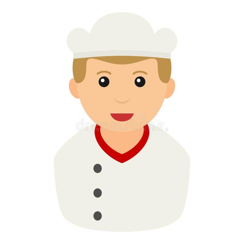 Chef Avatar Flat Icon lokalisiert auf Weiß vektor abbildung