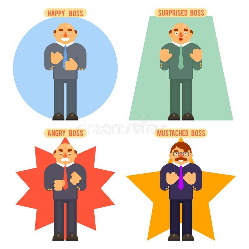 Chef-Avatar Happy Surprised-Schnurrbart-verärgerte erwachsene Gefühle stellten Charakter-Symbol-Geschäfts-Ikonen-Hintergrund-Konz vektor abbildung