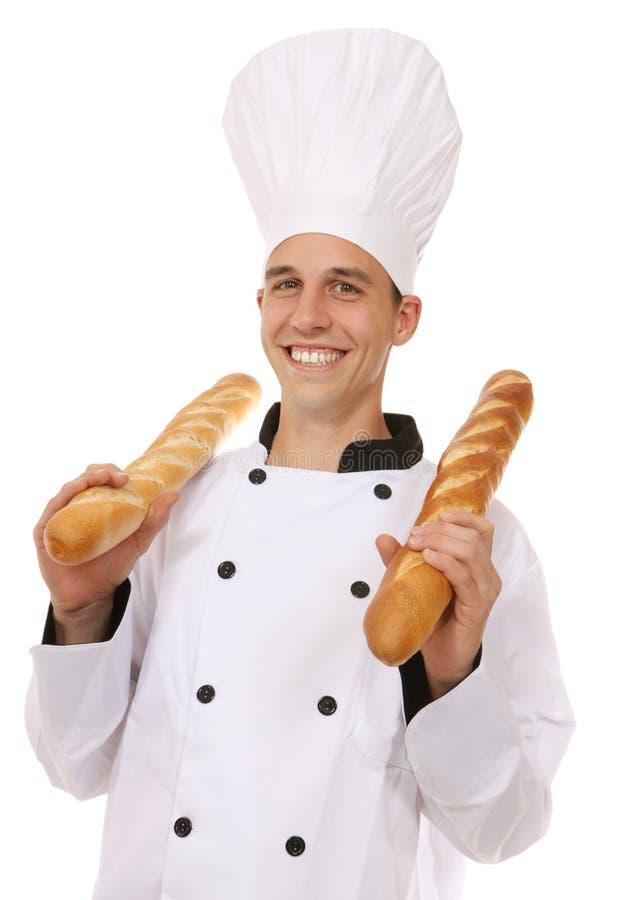 Chef avec du pain images libres de droits