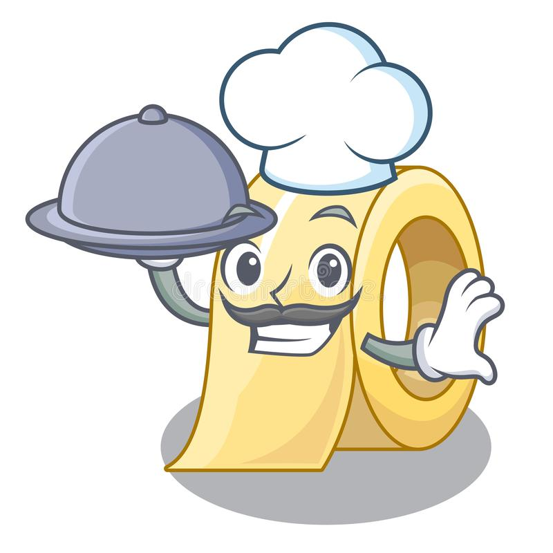 Chef avec du ruban de nourriture d'isolement avec la mascotte illustration stock