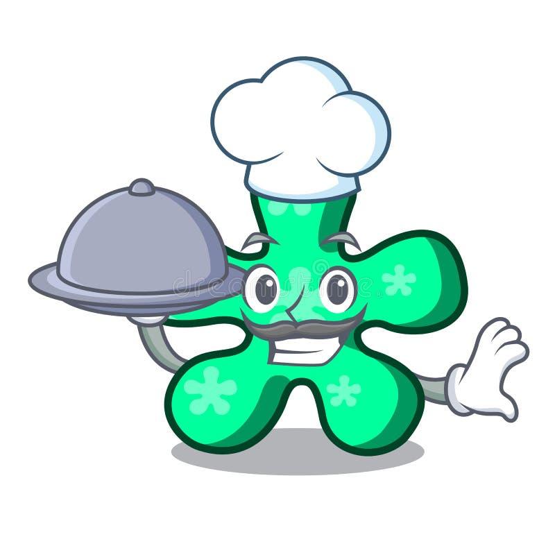 Chef avec la bande dessinée de mascotte de forme gratuite de nourriture illustration de vecteur