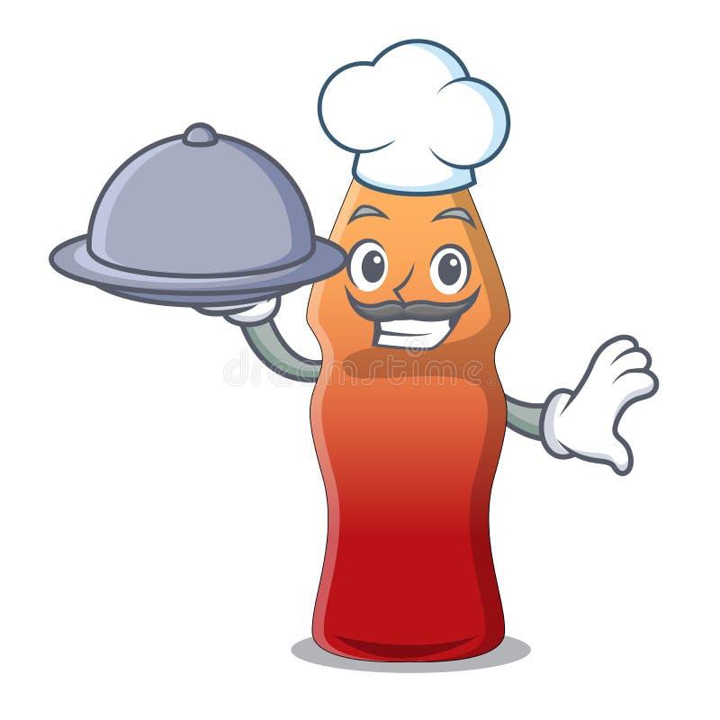 Chef avec la bande dessinée de mascotte de sucrerie de gelée de bouteille de kola de nourriture illustration stock