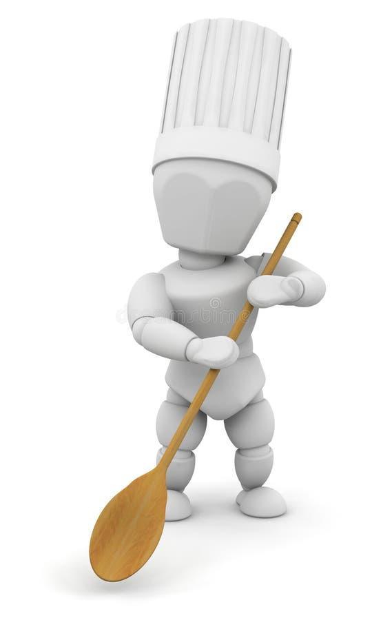 Chef avec la cuillère en bois illustration stock
