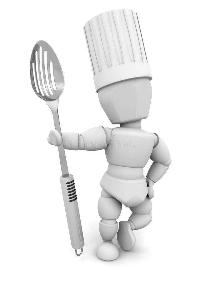 Chef avec la cuillère en métal illustration de vecteur