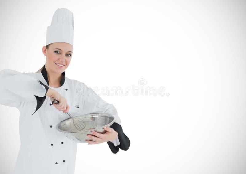 Chef avec la cuvette sur le fond blanc illustration de vecteur
