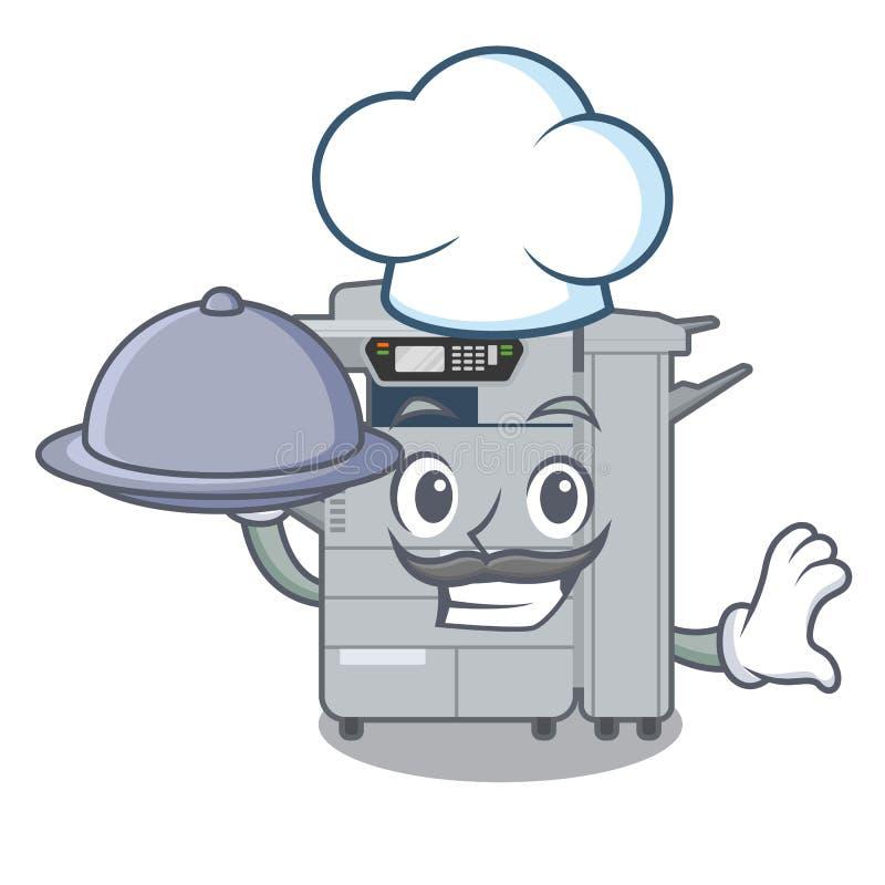 Chef avec la machine de copieur de nourriture au-dessus de la table en bois de mascotte illustration libre de droits