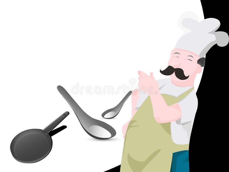 Chef avec le carter et la cuillère illustration stock