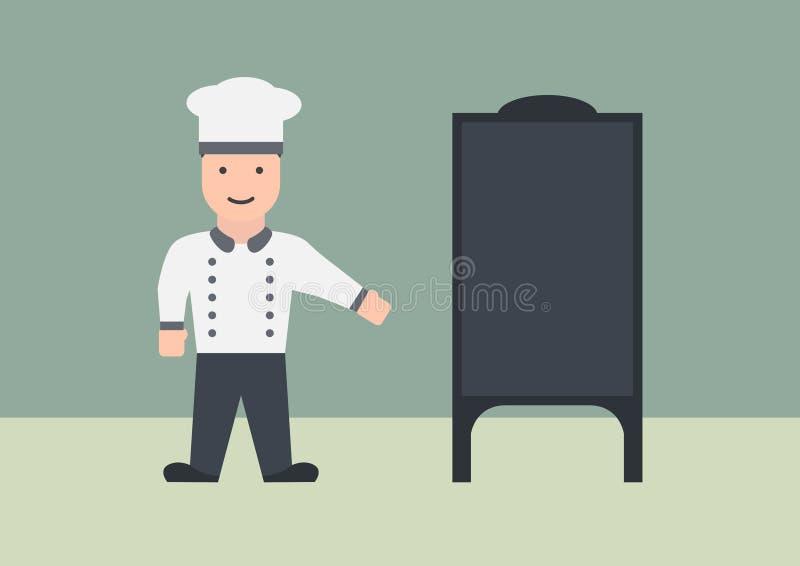 Chef avec le graphique plat de panneau de menu photographie stock
