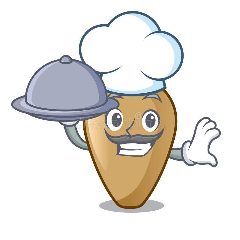 Chef avec le style de bande dessinée de mascotte d'amphore de nourriture illustration libre de droits