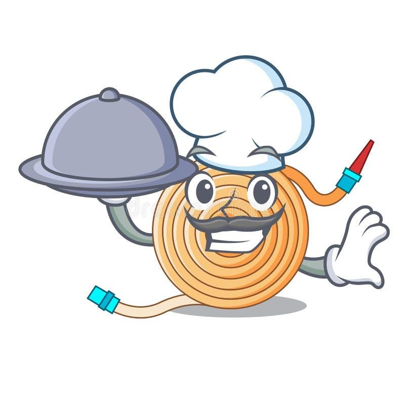 Chef avec le tuyau de l'eau de nourriture pour s'éteindre le feu illustration stock