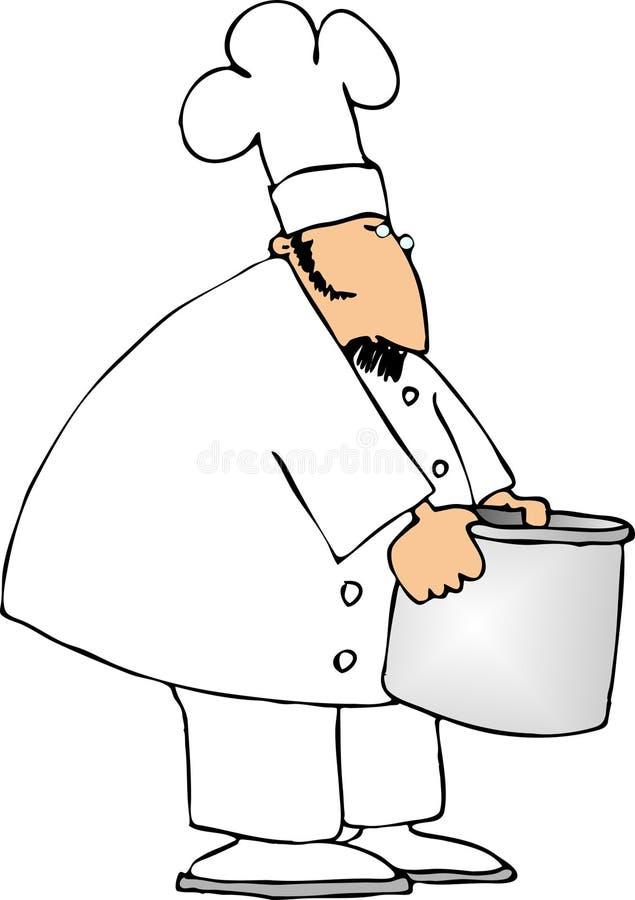 Chef avec un bac illustration de vecteur