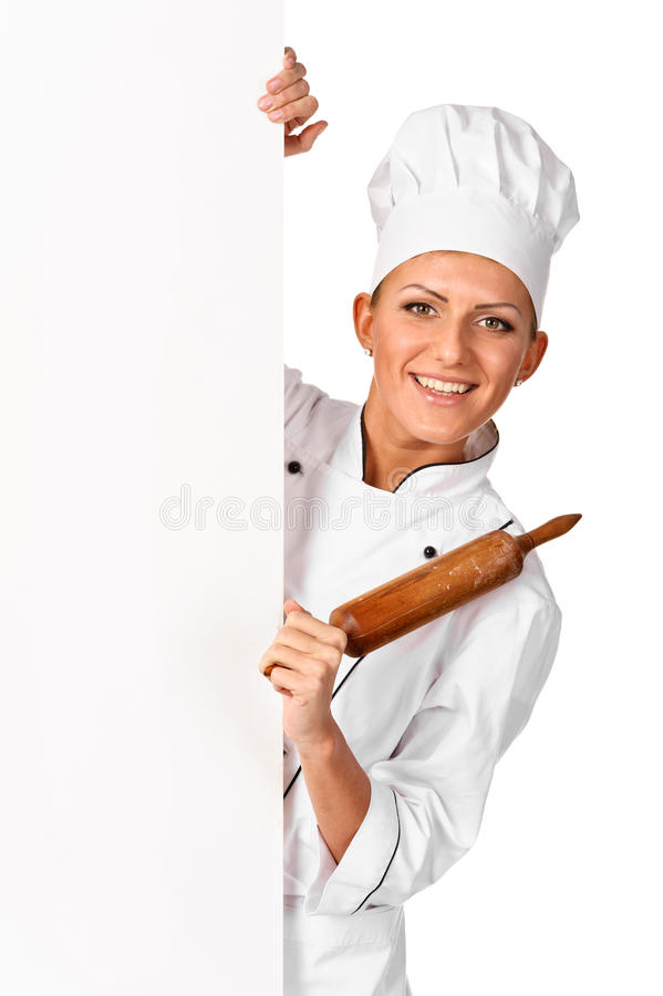 Chef, baker or cook smiling happy holding blank white paper sign. Isolated royalty free stock photos