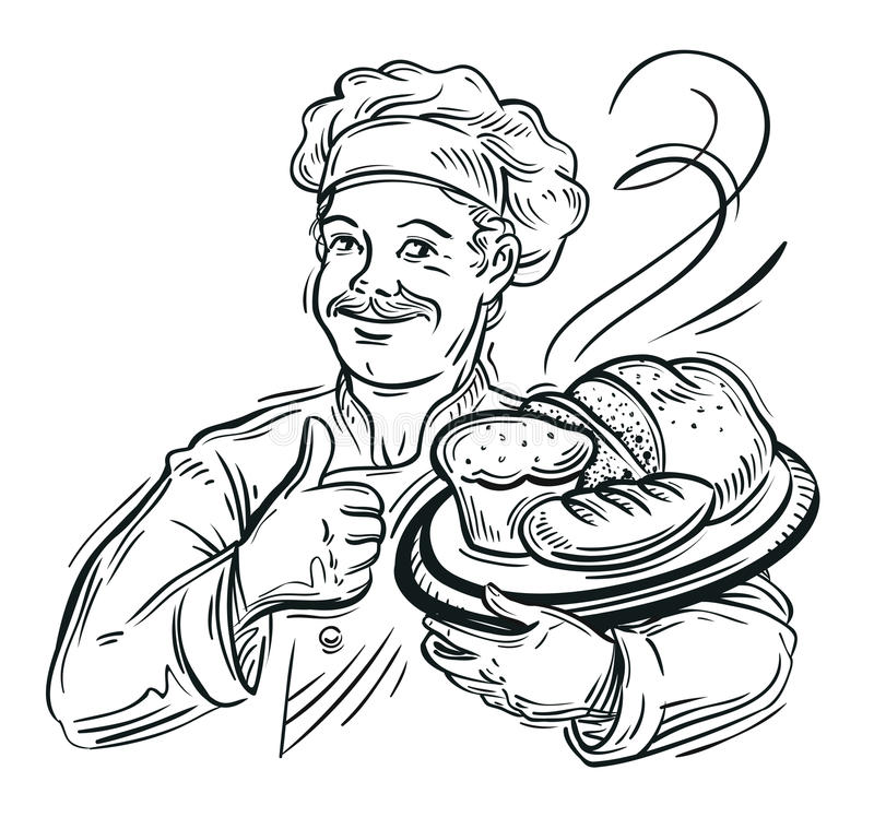 Chef Baker and fresh Bread royalty free illustration