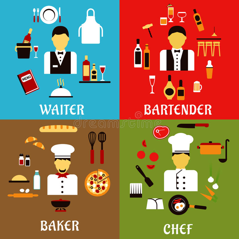 Chef, baker, waiter and bartender professions stock illustration