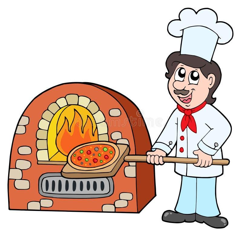 Chef baking pizza stock illustration
