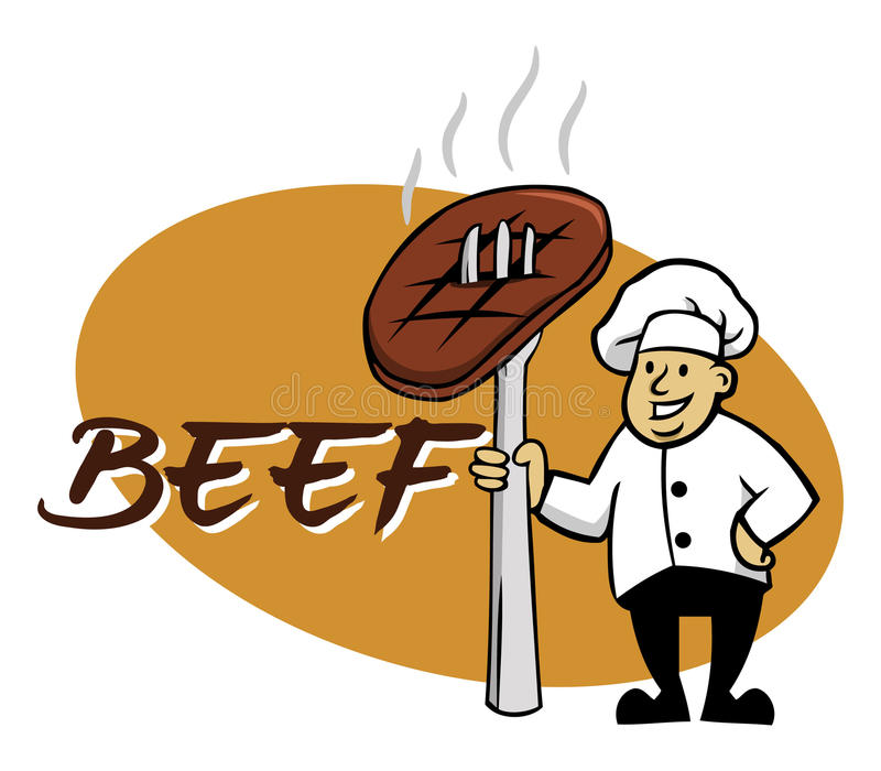 Chef And Beef illustration de vecteur