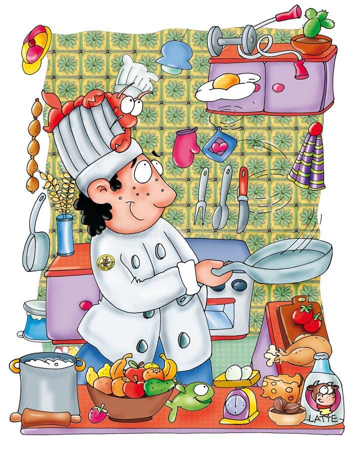 Chef bei der Arbeit in der Küche mit Töpfen lizenzfreie abbildung