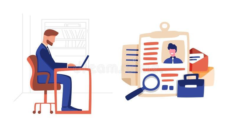 Chef- bekijk kandidatenprofiel op baanvacature vector illustratie