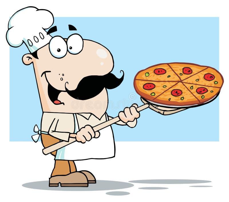 Chef blanc portant un secteur de pizza sur une pelle à poêle illustration de vecteur
