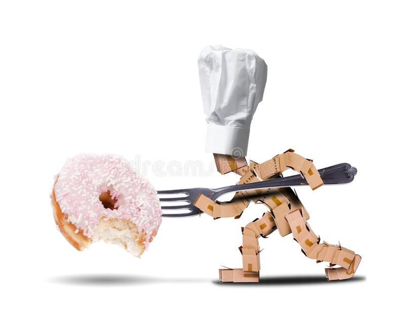 Chef box character attacking a large donut royalty free stock photography