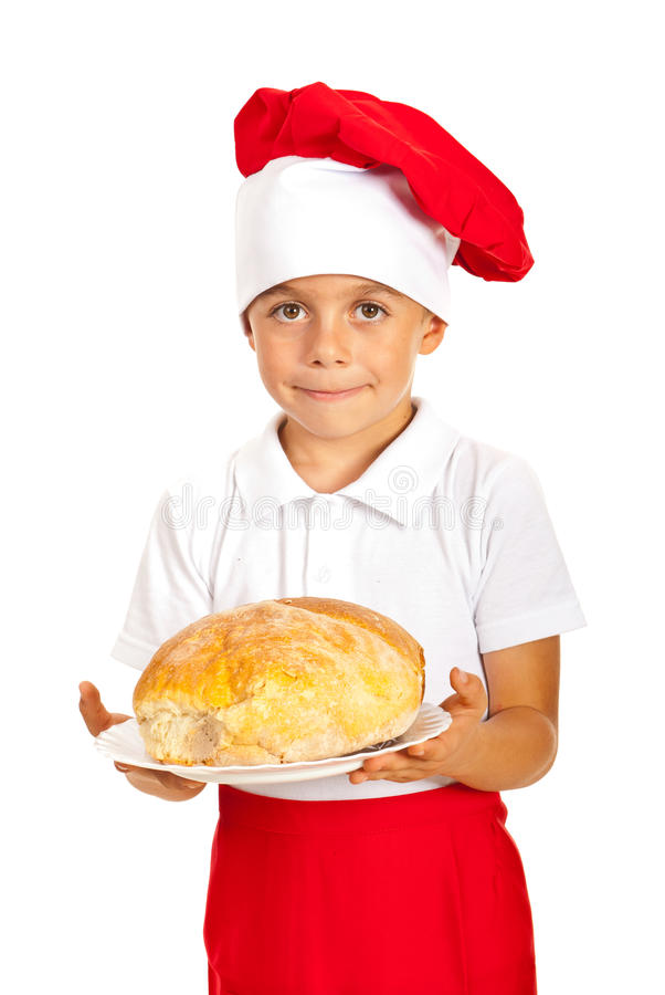 Chef boy giving bread stock photos