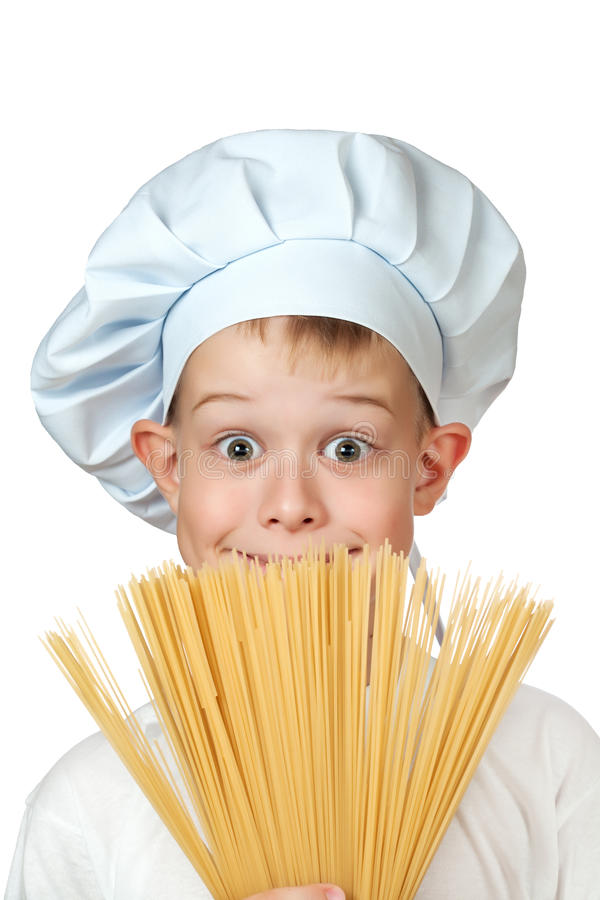 Chef Boy Is Hiding Behind A Spaghetti Stock Photography