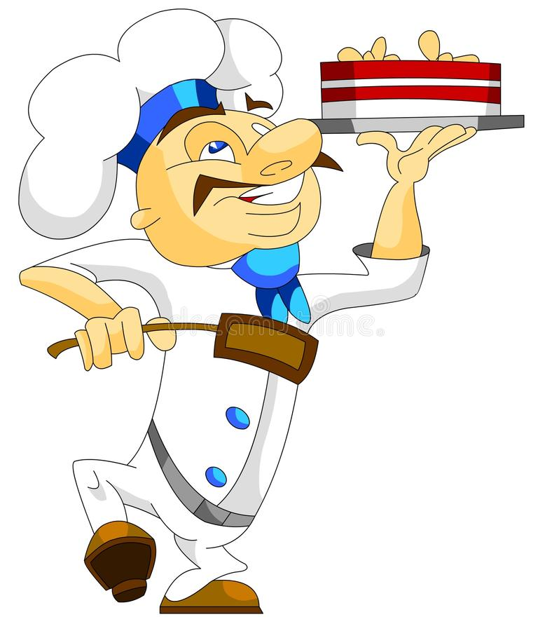 Chef with a cake vector illustration
