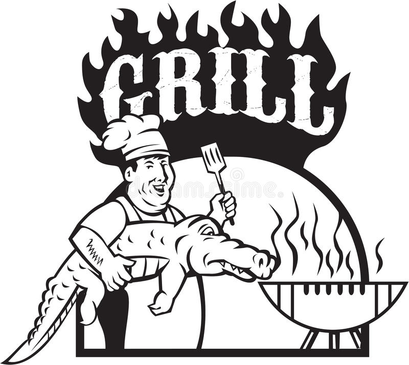 Chef Carry Alligator Grill Cartoon. Black and white sytle illustration of a chef smiling carrying alligator in one hand and holding spatula in the other hand stock illustration