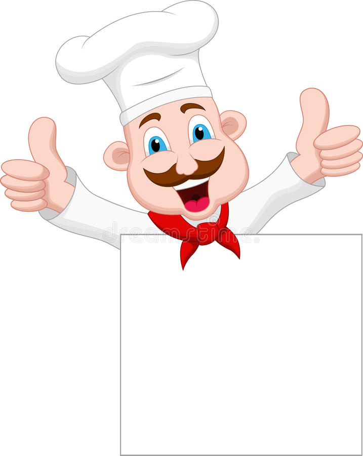 Chef cartoon character with blank sign vector illustration