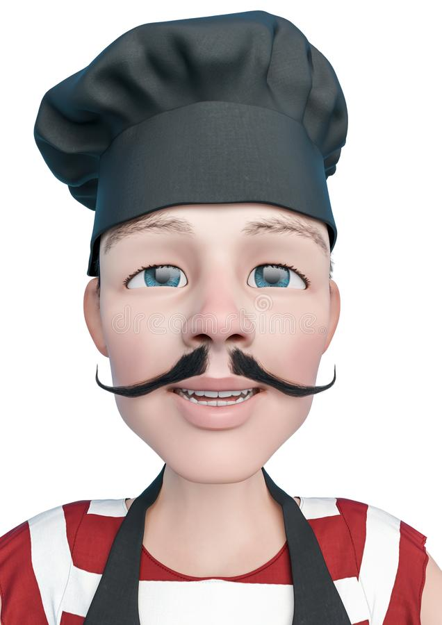 Chef cartoon doing a open smile in a white background. This chef in clipping path is very useful for graphic design creations, 3d illustration royalty free illustration