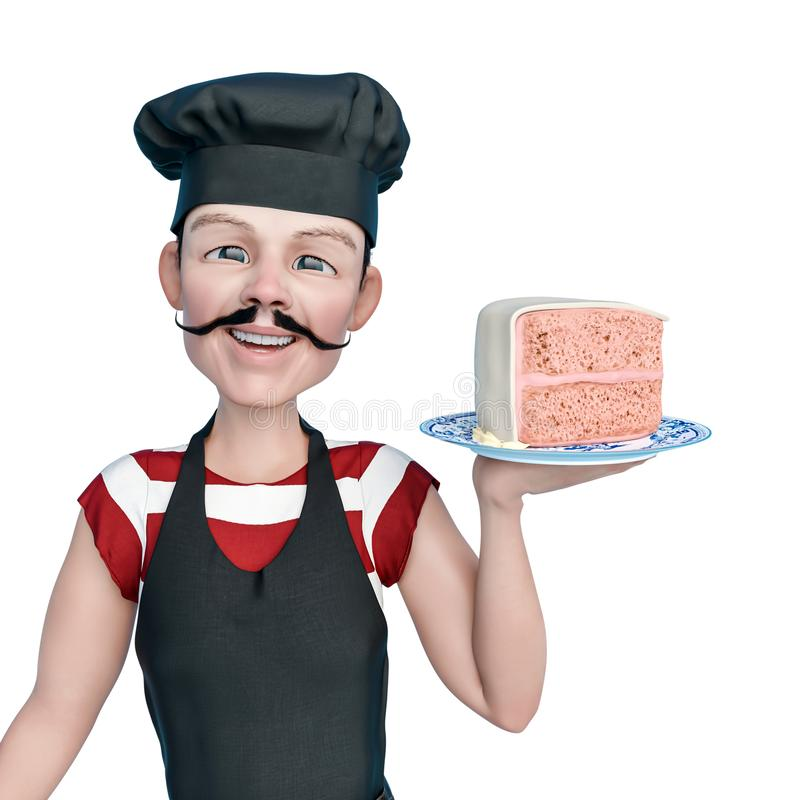 Chef cartoon holding a peace of cake with a smile in a white background. This chef in clipping path is very useful for graphic design creations, 3d stock illustration