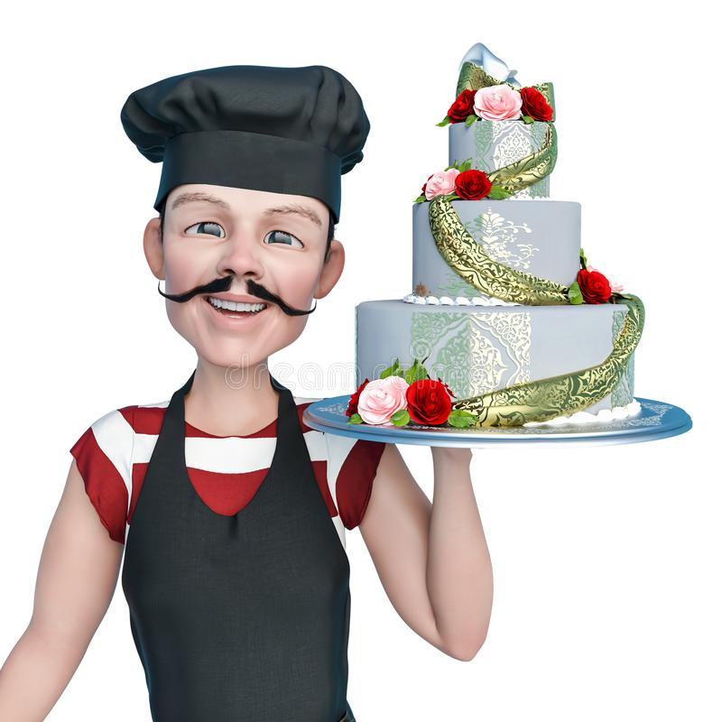 Chef cartoon holding a weding cake with smile in a white background. This chef in clipping path is very useful for graphic design creations, 3d illustration vector illustration