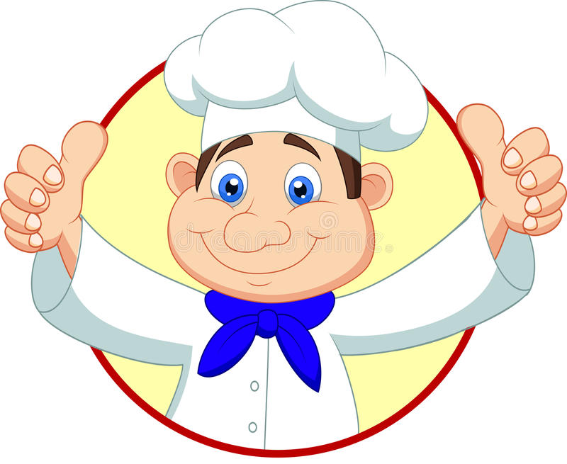 Chef cartoon with thumb up stock illustration