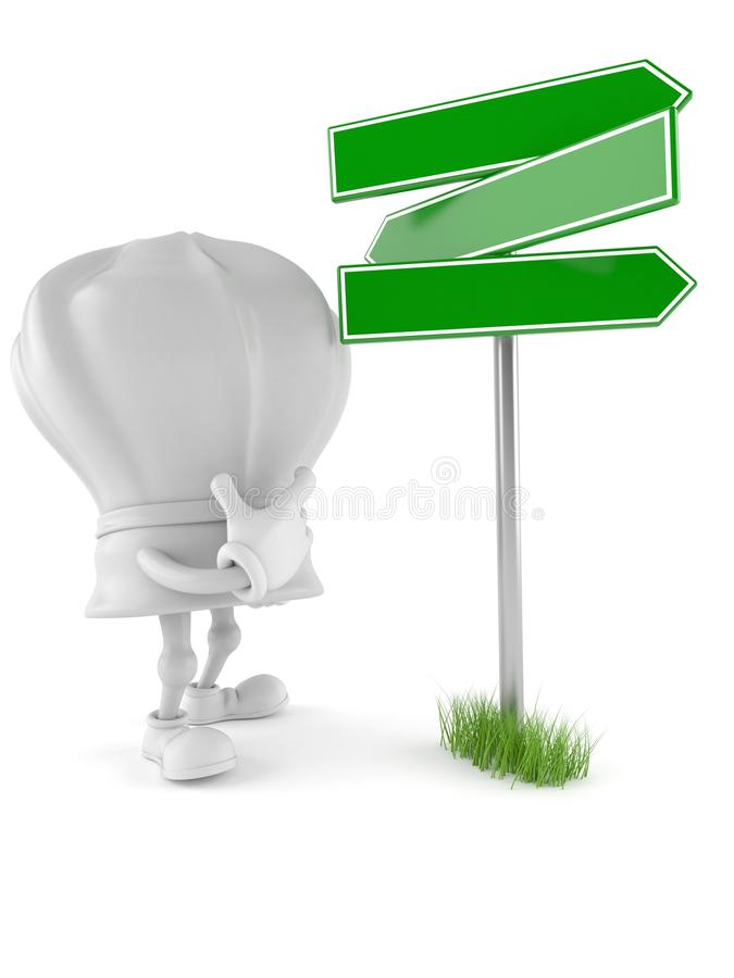Chef character with blank signpost. Isolated on white background stock illustration