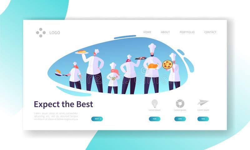 Chef Character mit Teller-Satz-Landungs-Seite Restaurant, das Konzept kocht Berufsleute in der Uniform bereiten Nahrungsmittelweb stock abbildung