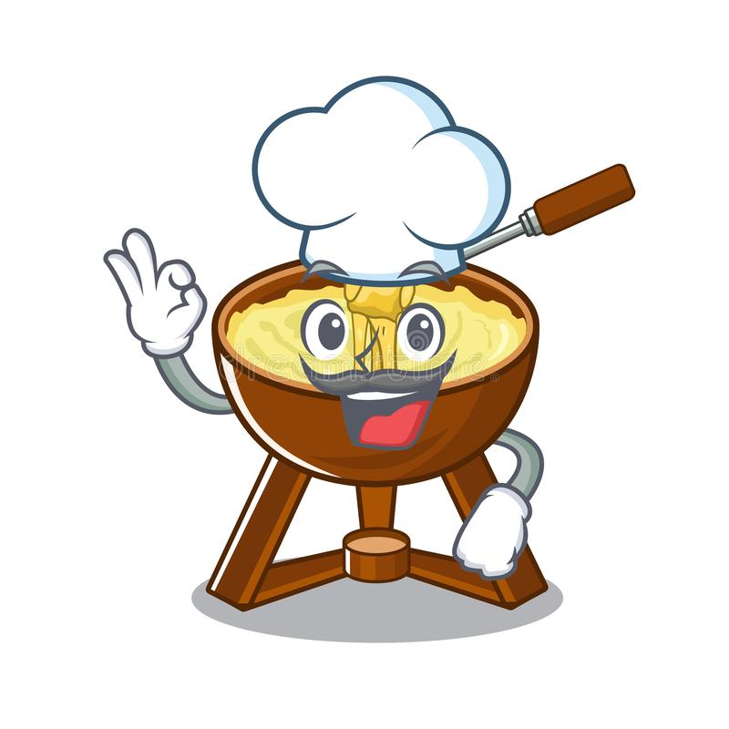 Chef cheese fondue with in mascot shape. Vector illustration stock illustration