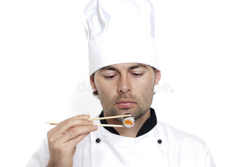 Download Chef In Chef's Hat With Sushi Stock Photo - Image: 23019452