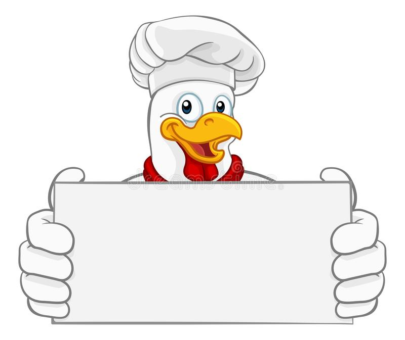 Chicken Chef Cartoon Rooster Cockerel Mascot Sign. A chef chicken rooster cockerel cartoon character mascot holding a sign royalty free illustration